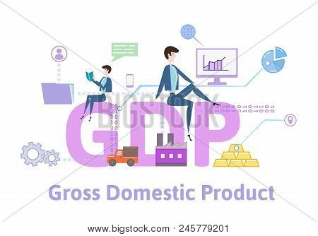 Gdp, Gross Domestic Product. Concept With Keywords, Letters And Icons. Colored Flat Vector Illustrat