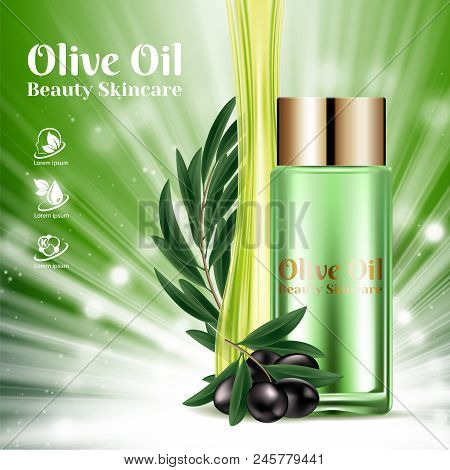 Luxury Moisturizing Bottles With Cosmetic Golden Caps And Black Olive Branch On Shining Green Backgr