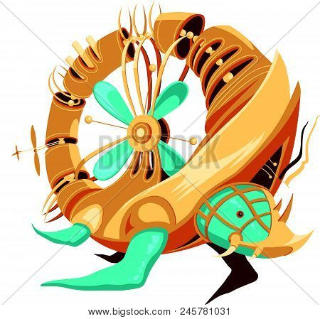 Robot-turtle With Yellow And Turquoise Metal Parts And A Propeller. Donut Shaped Hollow Turtle Robot