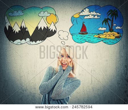 Positively Surprised Woman With Hands On Her Cheek, Confused Has To Choose Between Sea And Mountains
