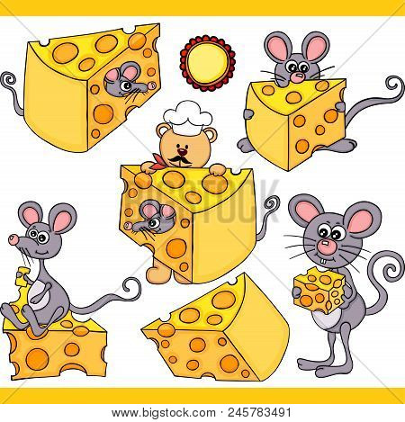 Scalable Vectorial Representing A Cute Mouse And Cheese Set Digital Elements, Illustration With Elem
