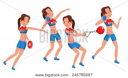 Athletics Young Woman Player Vector. Sport Concept. Jogging Race. Sportswear. Individual Sport. Girl