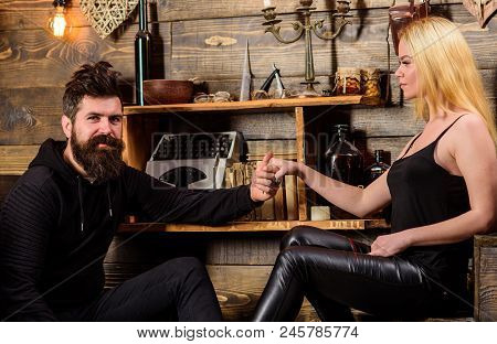 Couple Spend Romantic Evening In Gamekeepers House, Wooden Interior Background. Romantic Evening Con