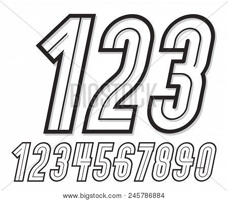 Trendy Retro Italic Tall Numbers Collection, Vector Numeration, For Use As Vintage Poster Design Ele
