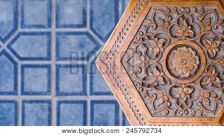 Islamic Art. Wooden Stool With Middle Eastern Islamic Uzbek Ornament. Handmade Wooden Chair Made By