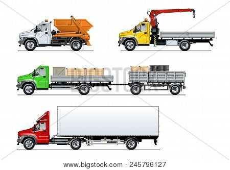 Vector Spec Trucks Set Isolated On White. Available Eps-10 Separated By Groups And Layers With Trans