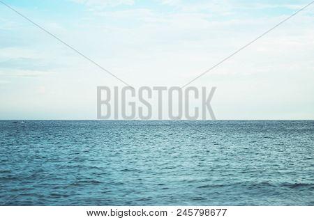 Waves Of Blue Quiet Ocean Coast Landscape. Background Sea Scape And Sand Beach Coastline. Panorama H