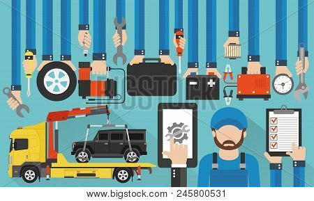 Car Service Online Call Flat Design With Wrecker And Mechanic Vector Illustration.
