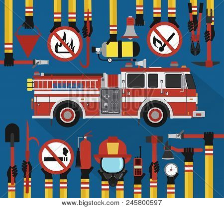 Fire Fighting Infographic Flat Design With Fire Engine.vector Illustration