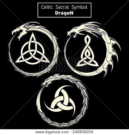 Set Of Three Vector Sacral Celtic Symbols. Dragon. Magic Sign. Sacred Geometry. Sacred Symbol Of Vik