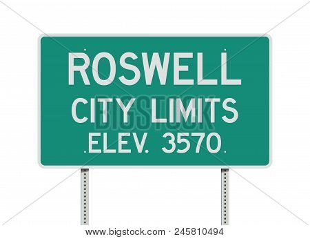 Vector Illustration Of The Roswell City Limits Green Road Sign