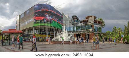 Sochi, Russia - June 16, 2018: Square At The Singing Fountain.