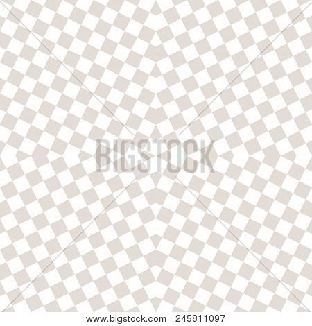 Subtle Vector Checkered Seamless Pattern. White And Beige Staggered Squares. Optical Art Texture. Mo