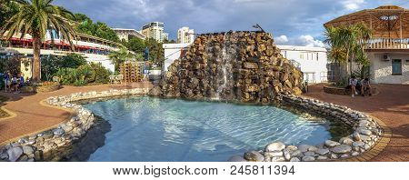 Sochi, Russia - June 16, 2018: Artificial Waterfall With A Swimming Pool.