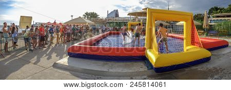 Sochi, Russia - June 16, 2018: Football In The Shallow Pool. In The City Of Sochi, Football In The S