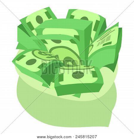 Dollars Bag Icon. Isometric Of Dollars Bag Vector Icon For Web Design Isolated On White Background