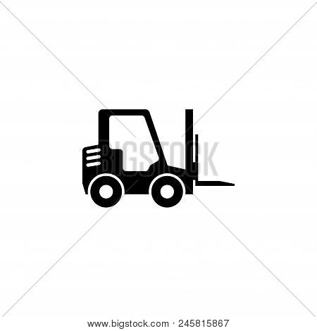 Forklift Delivery Truck. Flat Vector Icon Illustration. Simple Black Symbol On White Background. For