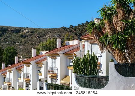 Malaga, Spain - December 30, 2017. White Houses Specific To Andalucia Region Of Spain, Costa Del Sol