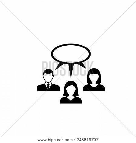 Team Brainstorming. Flat Vector Icon Illustration. Simple Black Symbol On White Background. Team Bra