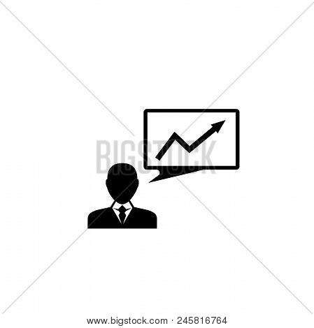 Businessman Presenting Business Statistic. Flat Vector Icon Illustration. Simple Black Symbol On Whi