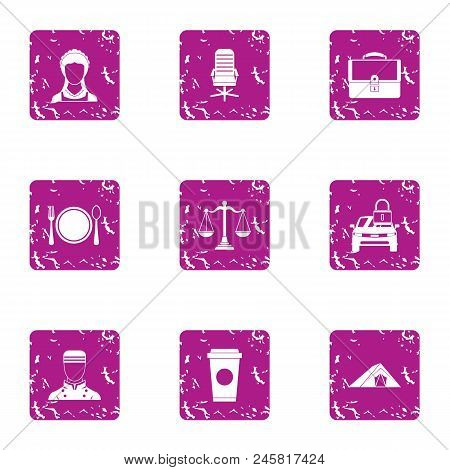 Council Icons Set. Grunge Set Of 9 Council Vector Icons For Web Isolated On White Background