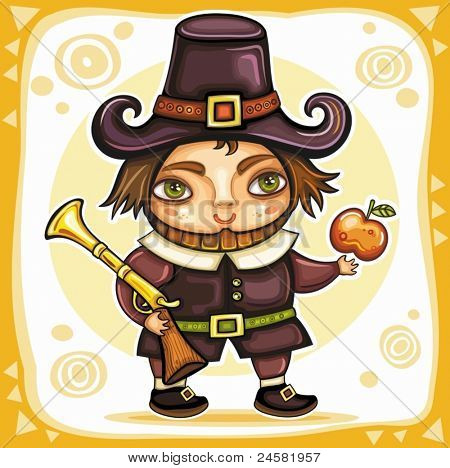 Thanksgiving theme 5 : Pilgrim boy with  Raffle and apple.