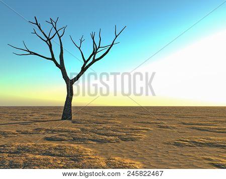 dead lonely tree in the desert - 3D rendering