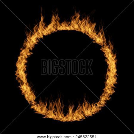 Conceptual yellow orange hot raging blaze of fire, circle round ring flame shape isolated black background. A abstract flammable danger inferno realistic burn fiery heat energy efect 3D illustration