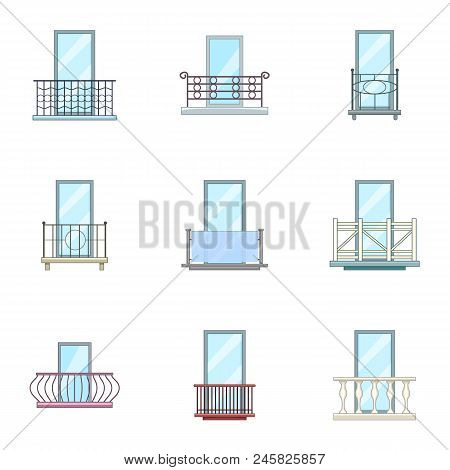 Panel Icons Set. Cartoon Set Of 9 Panel Vector Icons For Web Isolated On White Background