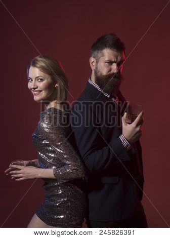 Office Holiday Parties Employees Want To Attend. Man In Suit And Fancy Lady At Corporate Party Drink