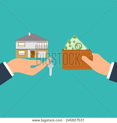 Buying House. Agent Of Real Estate Holding In Hand House, Key. Buyer, Customer Gives Money Bag. Deal