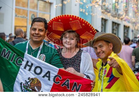 June 16, 2018. World Cup 2018, Football Fans On The Streets Of Moscow. Soccer Fans From Abroad Walki
