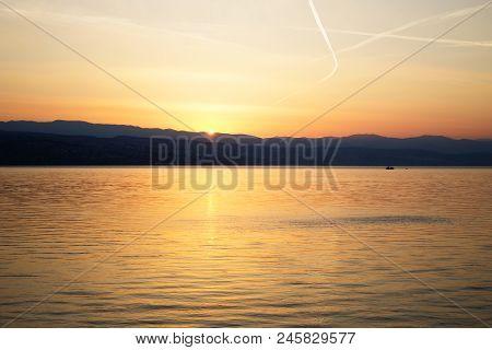 Boat On The Adriatic Sea At Dawn. Dawn On The Adriatic Sea, Croatia, Europe