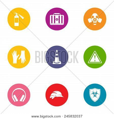 Chemical Defense Icons Set. Flat Set Of 9 Chemical Defense Vector Icons For Web Isolated On White Ba