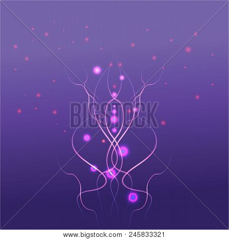 Vector Purple , Violet  ,rose ,abstract Background. Alien Style , Molecular Lighting Techno Fantasy