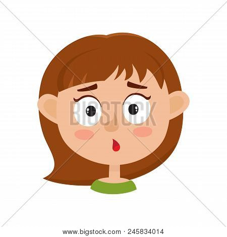 Little Girl Surprised Face Expression, Cartoon Vector Illustrations Isolated On White Background. Ki
