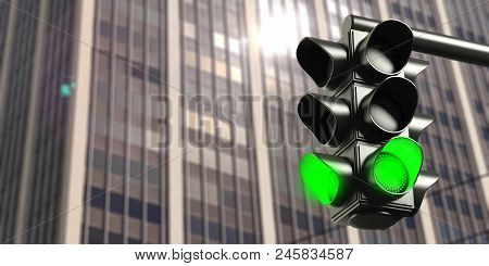 Green Traffic Lights On Office Building Background, Copy Space. 3D Illustration