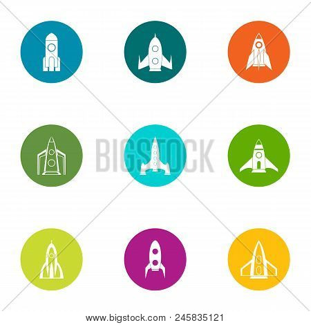 Rocket Launch Icons Set. Flat Set Of 9 Rocket Launch Vector Icons For Web Isolated On White Backgrou