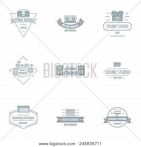 Sound Studio Logo Set. Simple Set Of 9 Sound Studio Vector Logo For Web Isolated On White Background