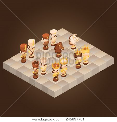 Isometric Cartoon Chess Pieces King, Queen, Bishop, Rook, Pawn, Knife.  Cute Chessman And Checkerboa