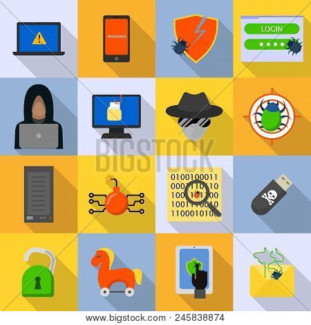Cyber Attack Computer Virus Icons Set. Flat Illustration Of 16 Cyber Attack Computer Virus Vector Ic
