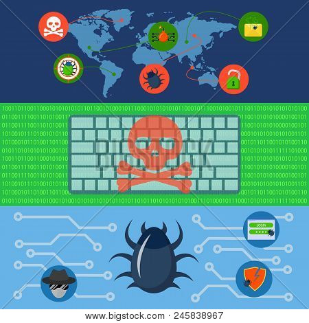 Cyber Attack World Banner Concept Set. Flat Illustration Of 3 Cyber Attack World Vector Banner Horiz