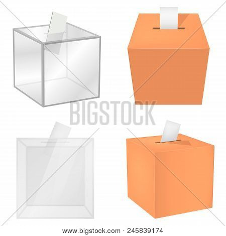 Ballot Voting Box Democracy Mockup Set. Realistic Illustration Of 4 Ballot Voting Box Democracy Mock