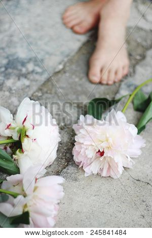 Feminine Styled Stock Photo. Vertical Composition. White And Pink Peony Flowers On Grunge Concrete F