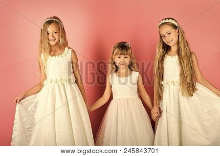 Family Fashion Model Sisters, Beauty. Children Girls In Dress, Family, Sisters. Little Girls In Fash