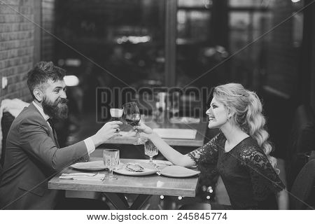 Business Meeting . Couple In Love At The Restaurant. Proposal And Anniversary. Valentines Day With S