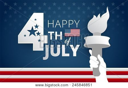 Happy 4th Of July Independence Day Usa Blue Background With Flames And The United States Flag. 4th O