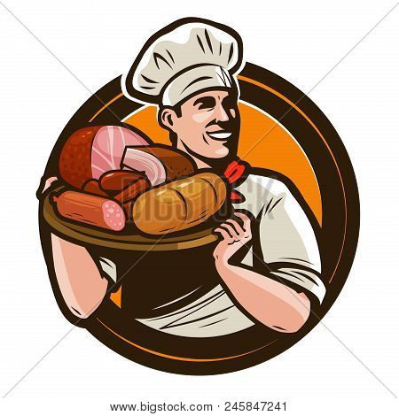 Cook Holding A Tray Of Meat. Butcher Shop Logo. Vector