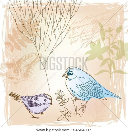 vector background with birds and floral elements