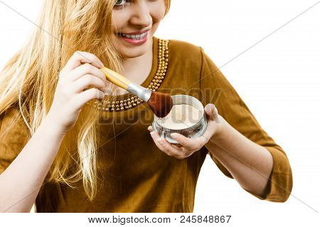 Fashionable Cheerful Young Female Holding Professional Powder Brush, Adding Last Touch To Her Make U